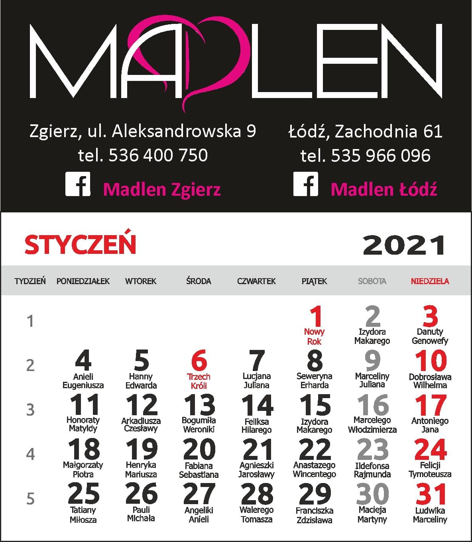 Kalendarzyk magnetyczny 2021 z imieninami