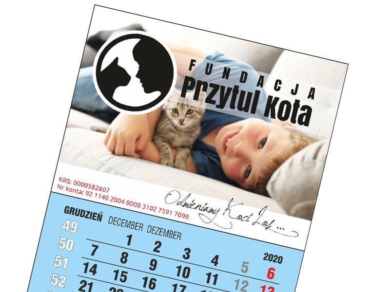 Kalendarzyk magnetyczny trójdzielny niebieski